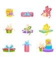 Christmas and birthday gift box Flat design vector image