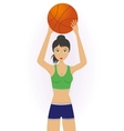 Girl throwing a basketball vector image