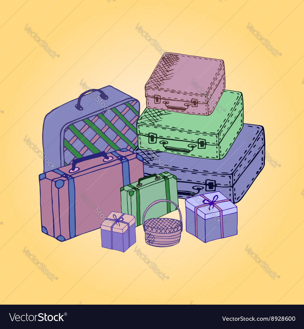 Suitcases isolated on a colored background vector