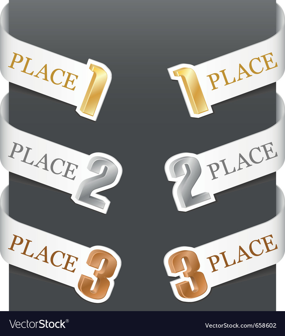 Left and right side signs  trophy numbers vector