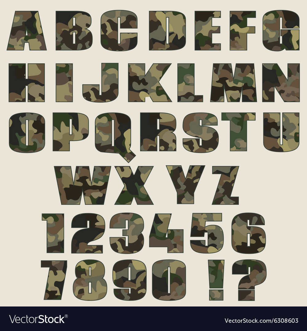 Camouflage font and numbers font for advertising vector