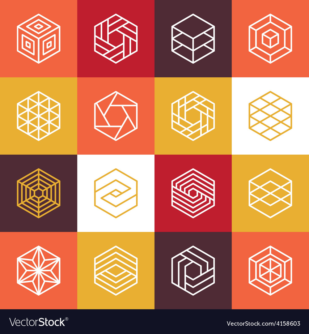 Linear hexagon logos and design elements vector