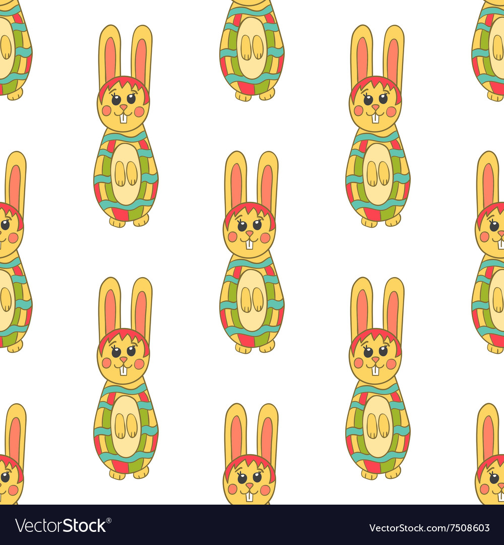 Seamless pattern with easter bunny8 vector