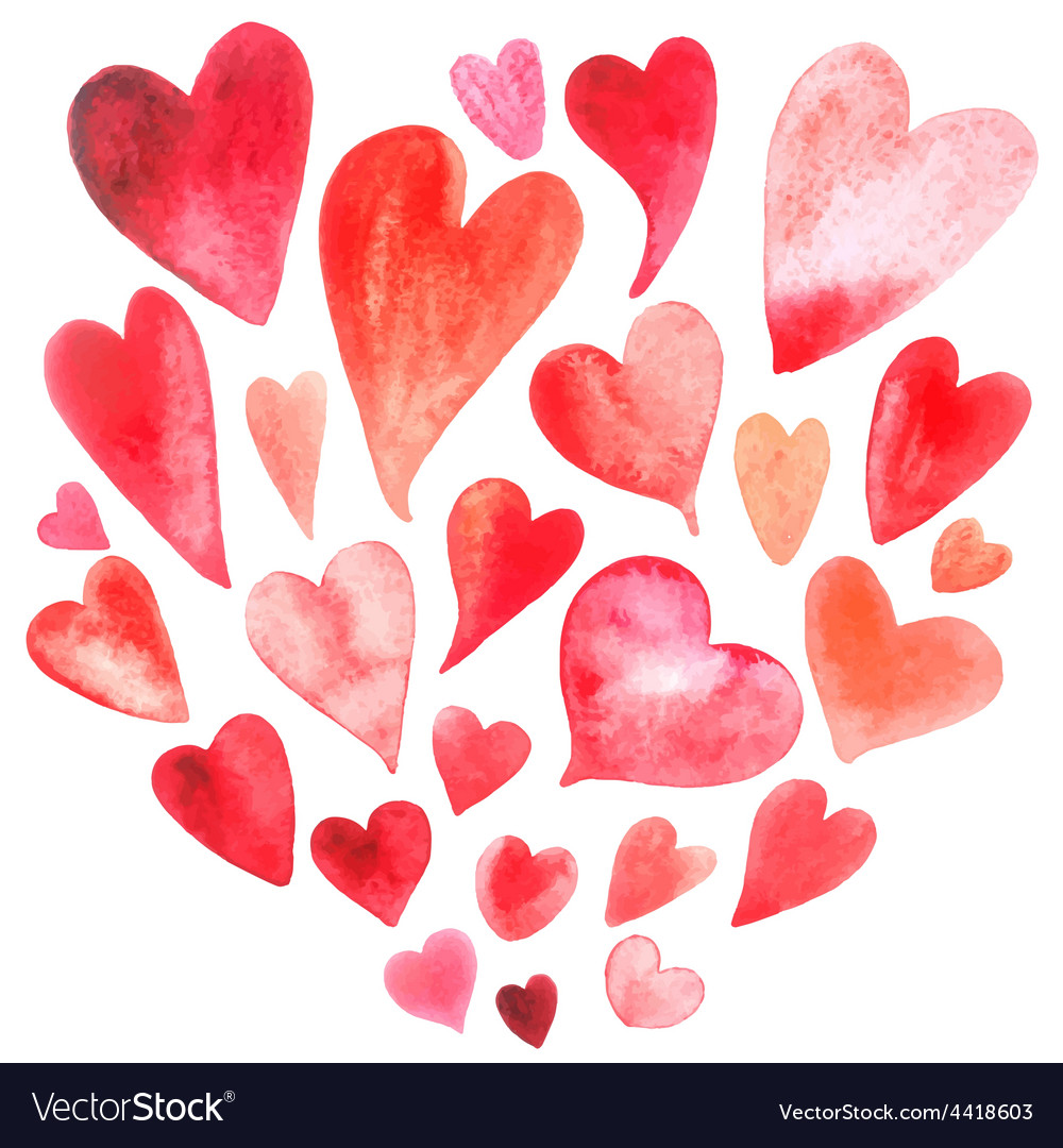 Watercolor heart set vector