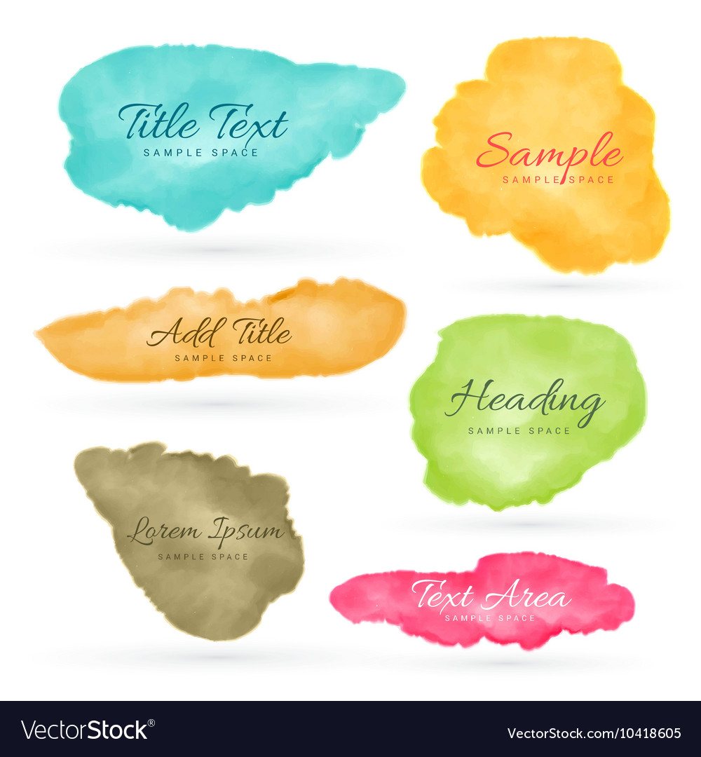 Colorful set of watercolor stain vector