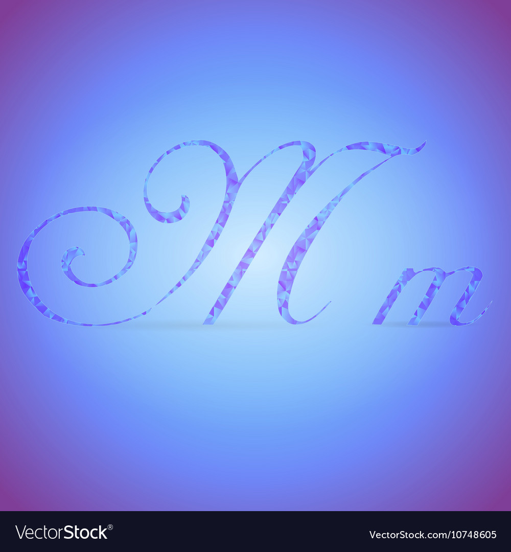 Letters m with polygonal pattern vector