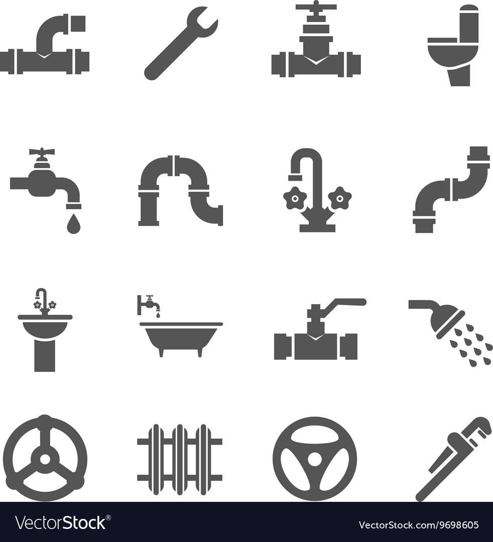 Plumbing service objects tools bathroom vector