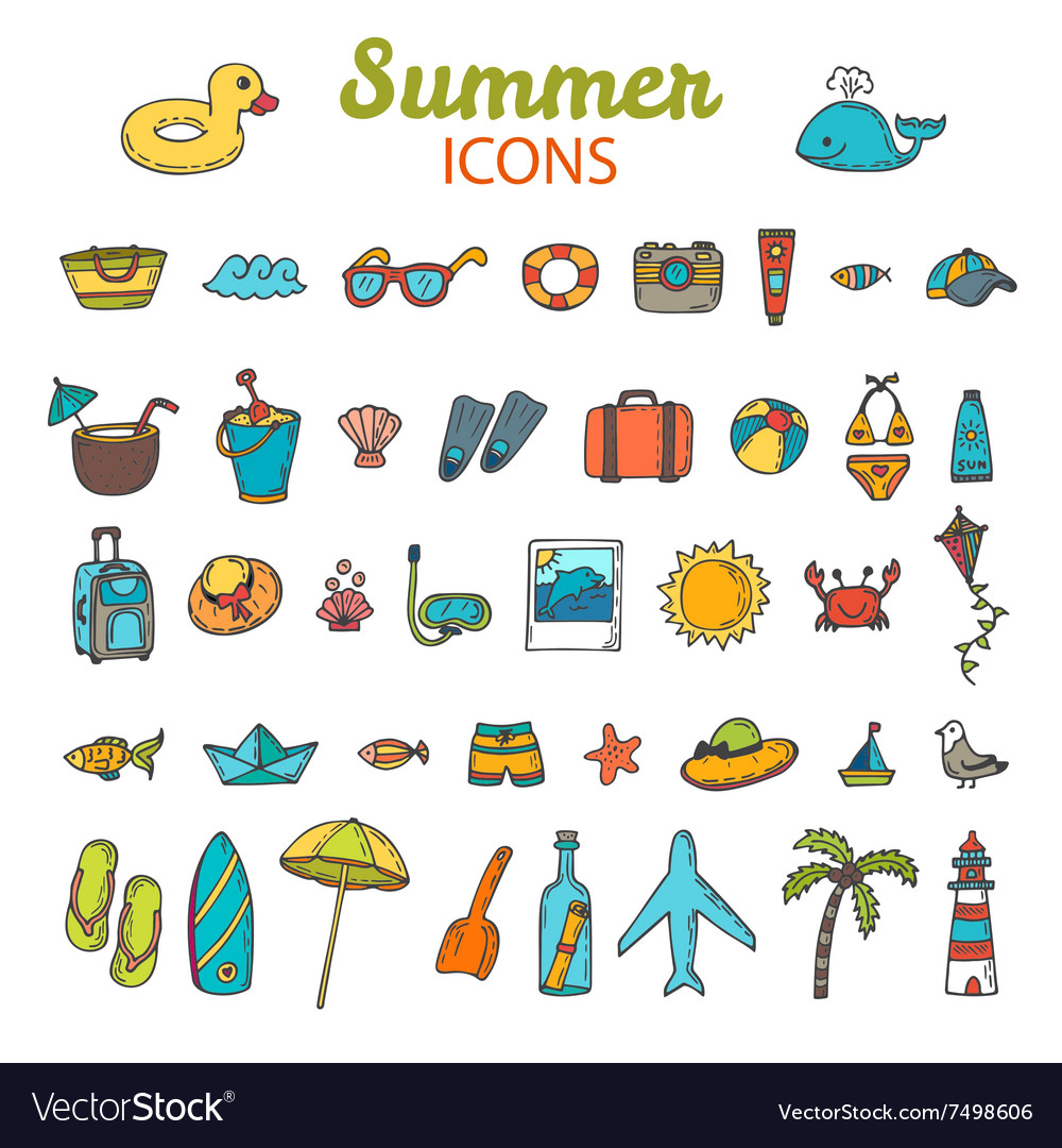 Beach icons collection hand drawn summer icon set vector