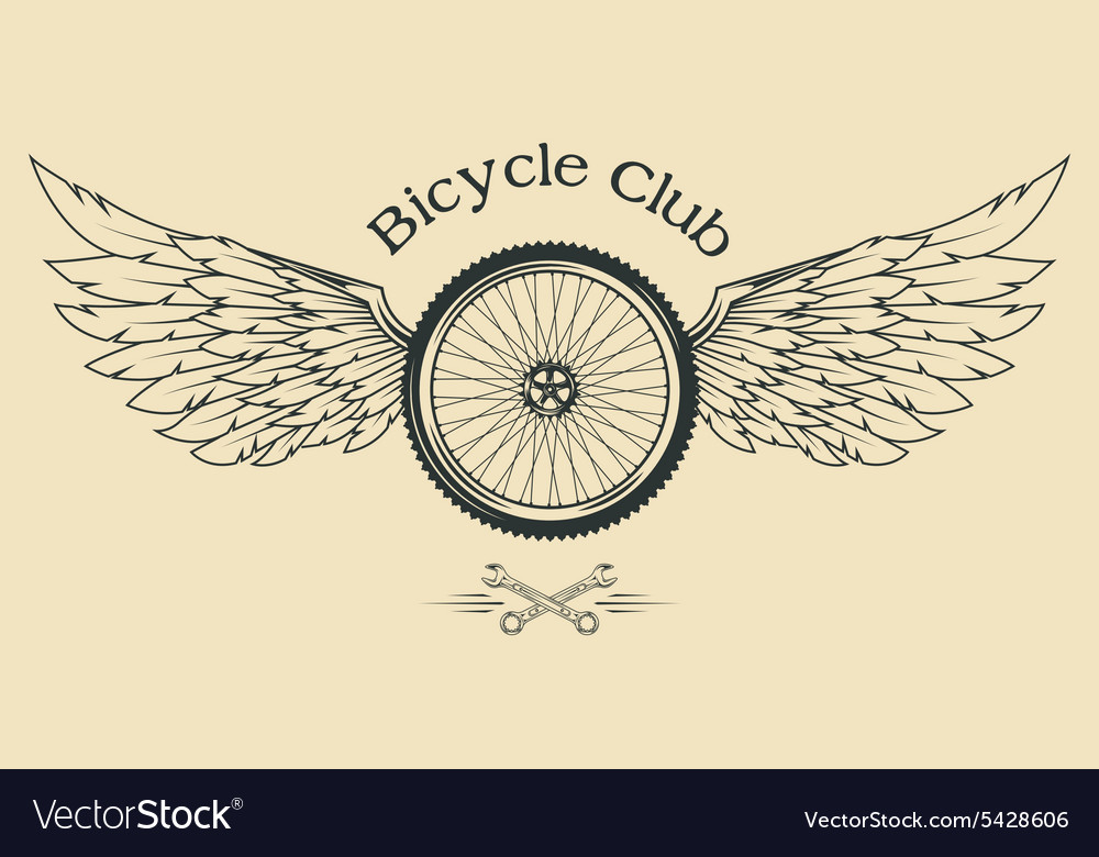Bicycle wheel with feathers vector