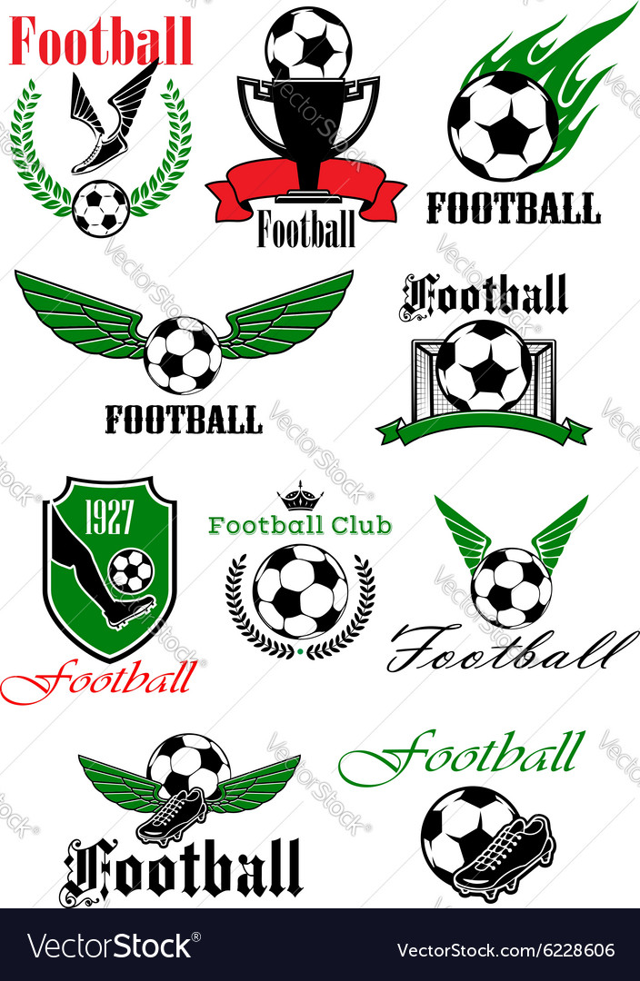 Football icons with sport game items vector
