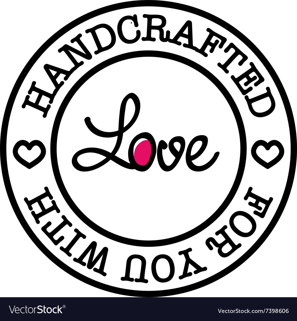 Handmade for you with love retro badge vector