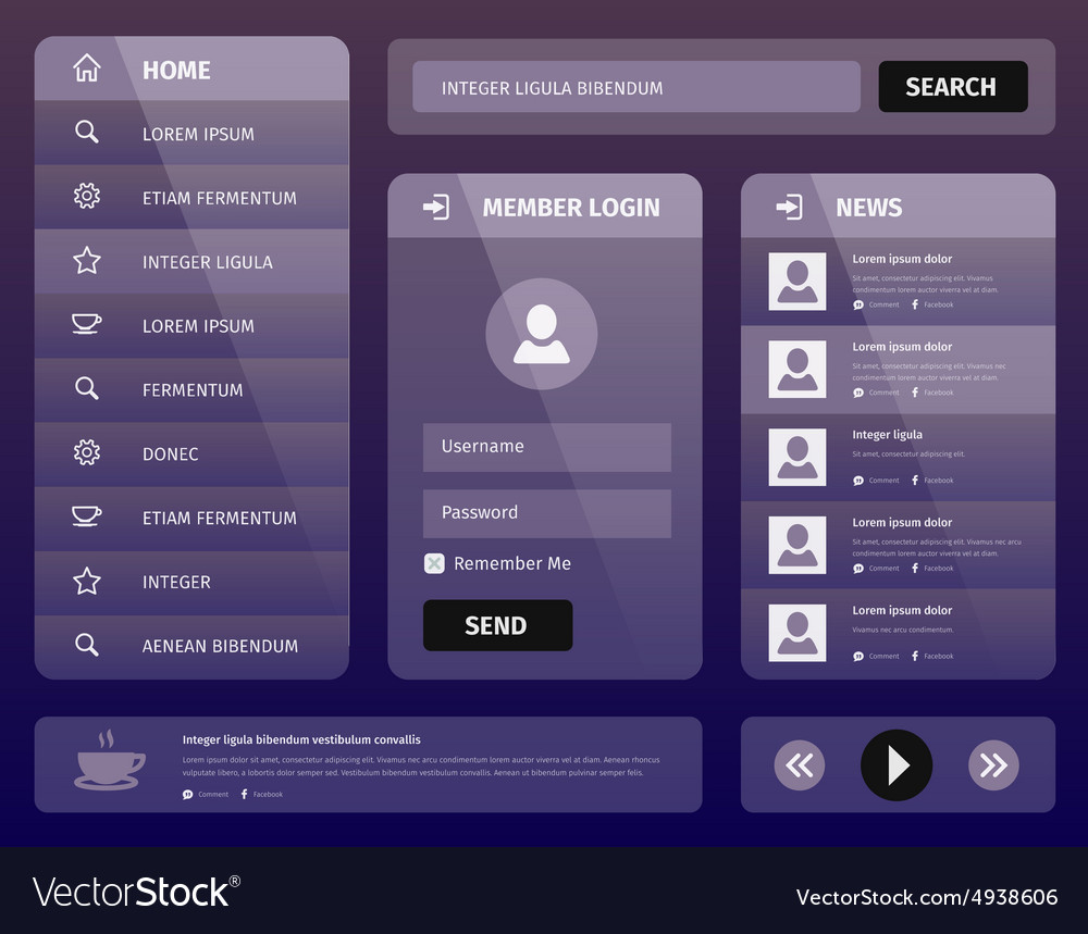 Modern purple mobile user interface design vector