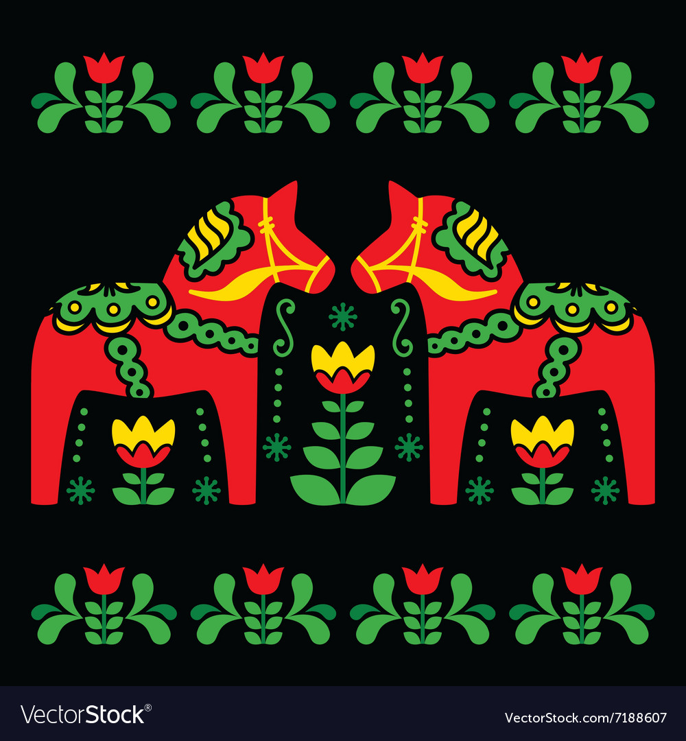 Swedish dala or daleclarian horse folk art pattern vector