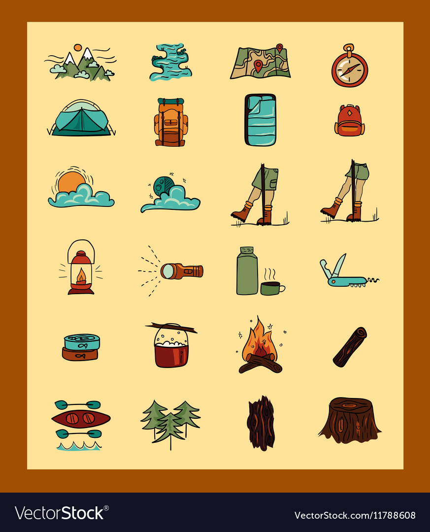 Excursion icons vector