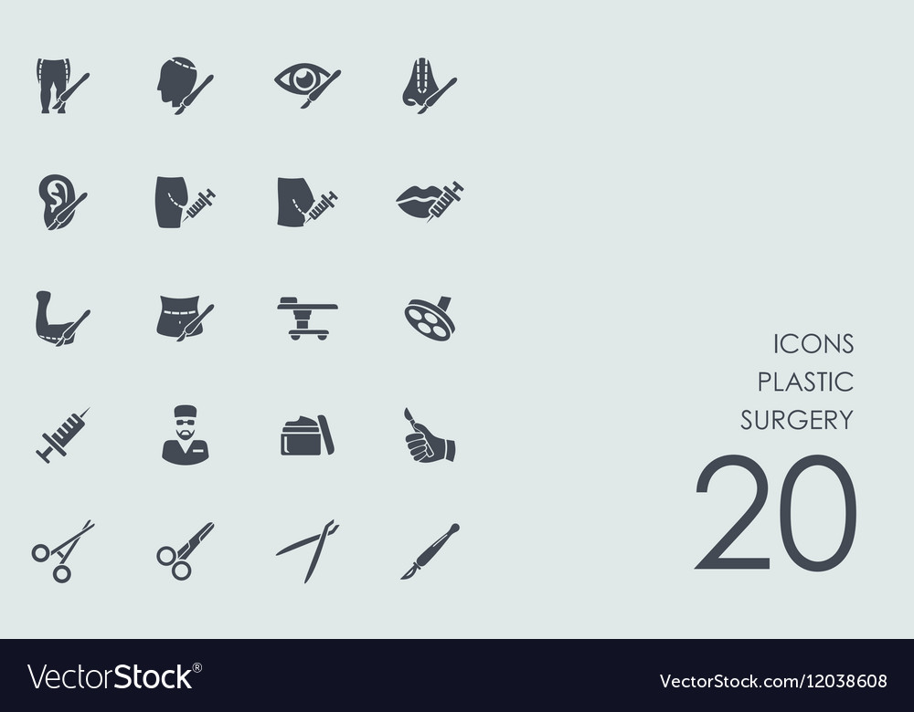 Set of plastic surgery icons vector