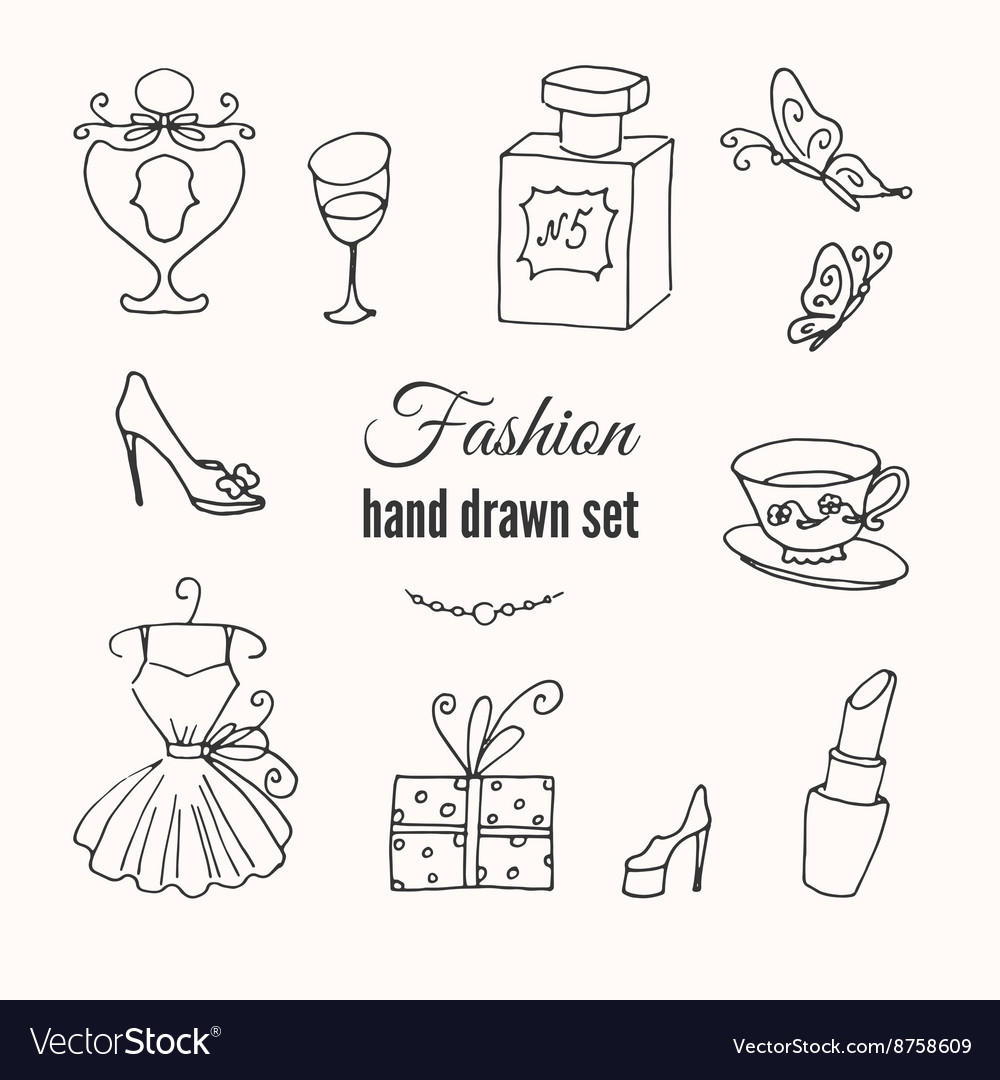 Fashion hand drawn elements set hand vector