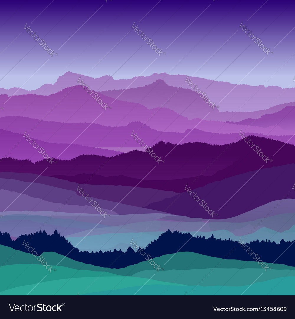 Flat night landscape beautiful hills vector