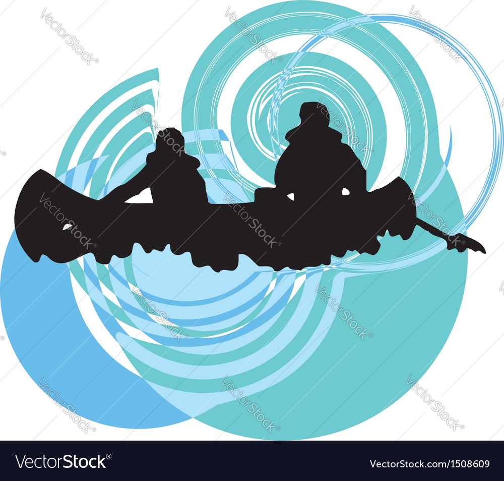 Rafting on the rapids vector
