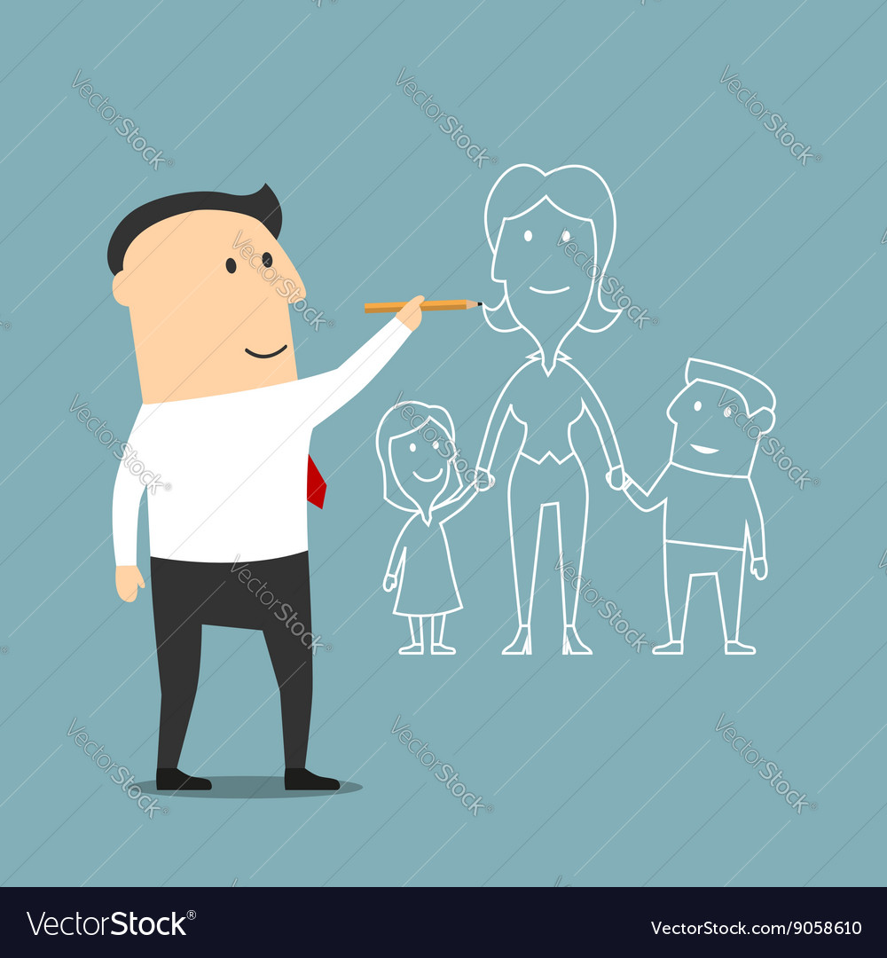 Businessman dreaming about family and love vector