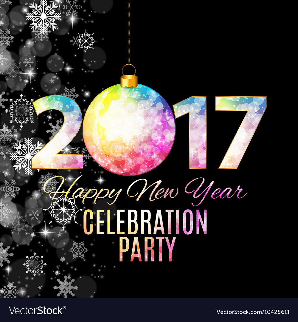 Abstract beauty 2017 new year celebration poster vector