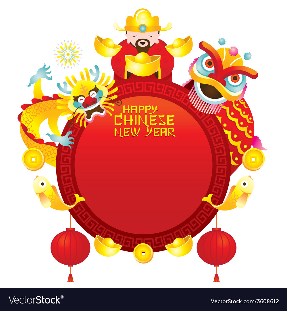 Chinese new year frame with god dragon and lion vector