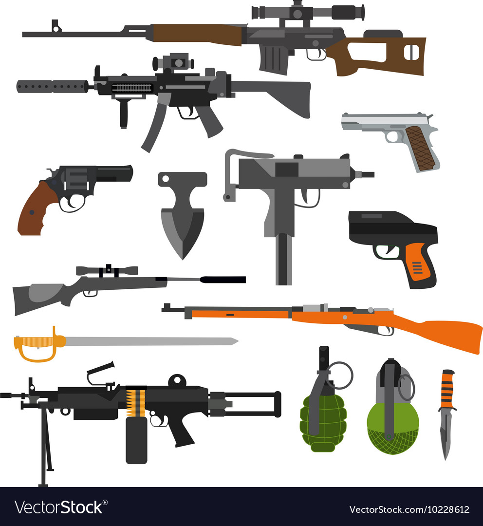 Set of army combat weapons icons isolated vector