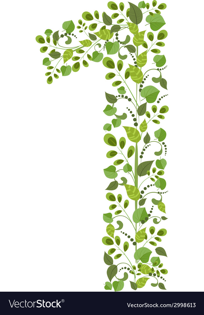 Spring green leaves eco number 1 vector