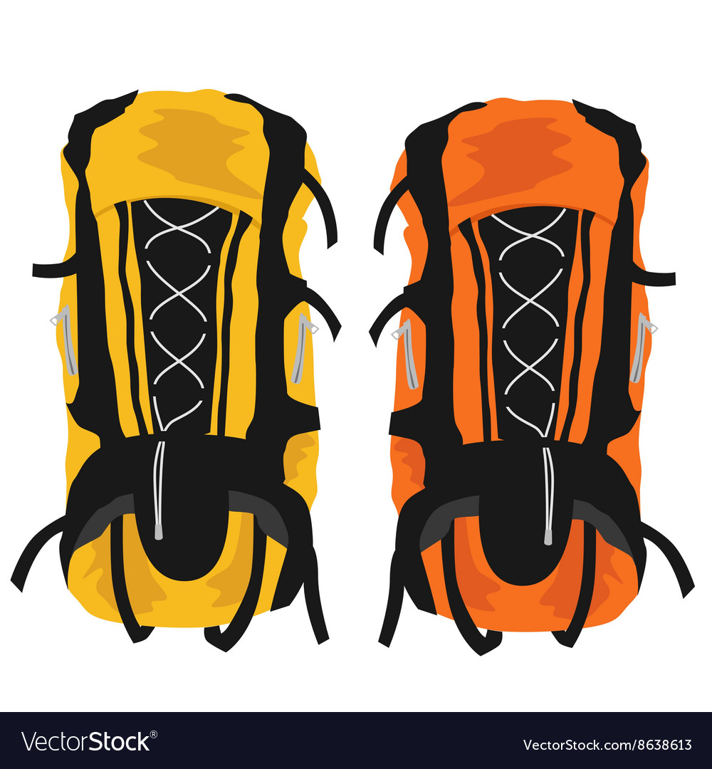 Two modern tourist backpacks on white background vector