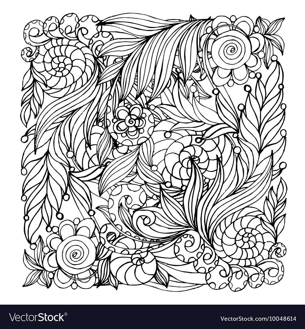 Coloring book page design with pattern mandala vector