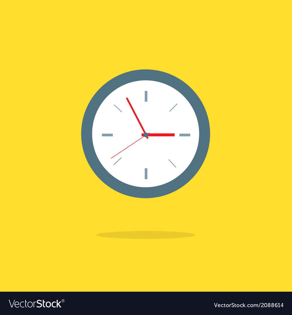 Flat design analog clock vector