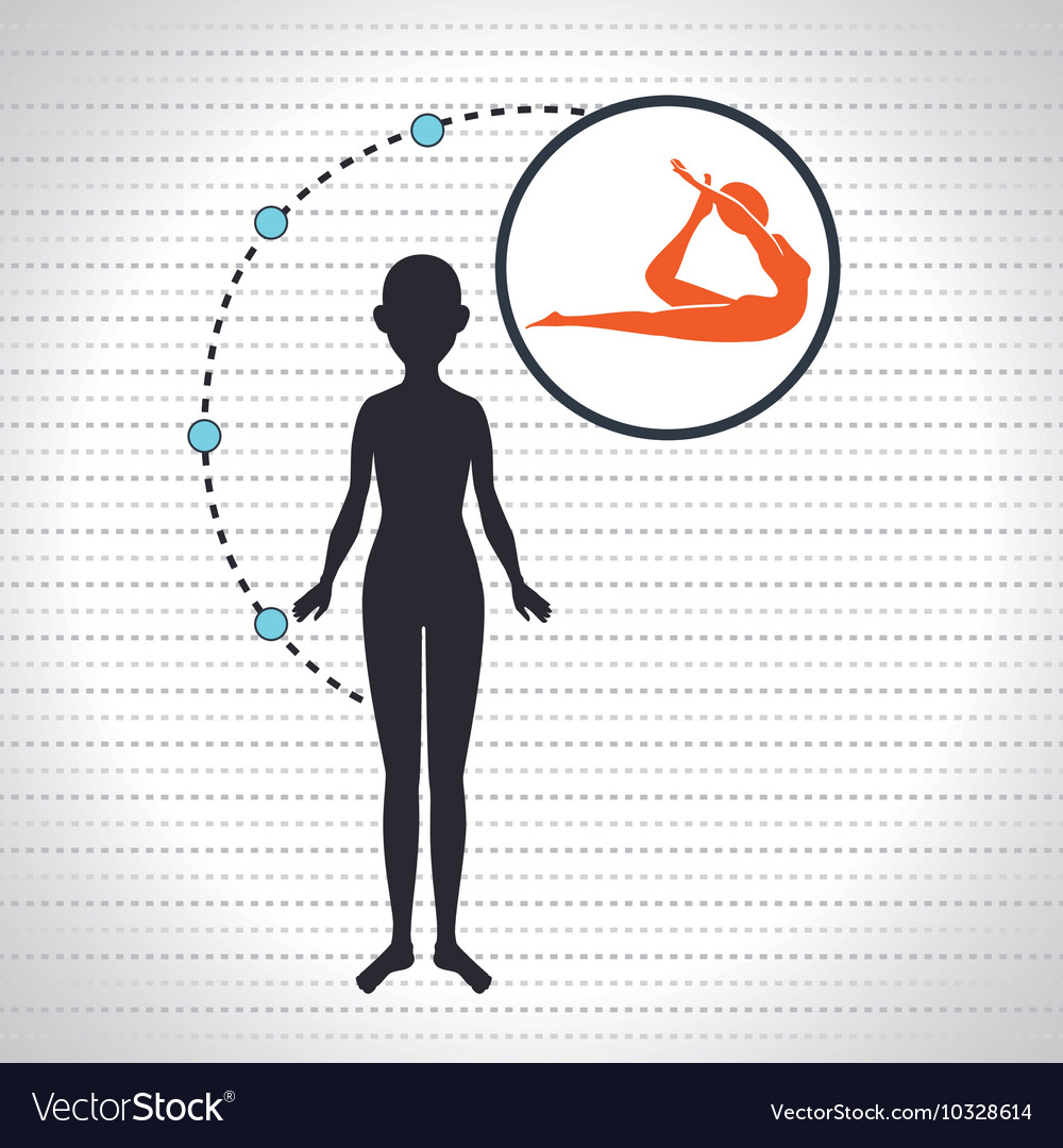 Silhouette woman healthy yoga vector