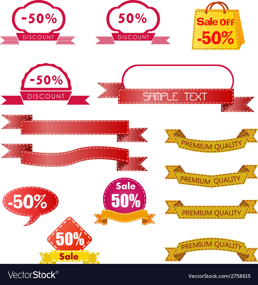 Discount price tag set vector