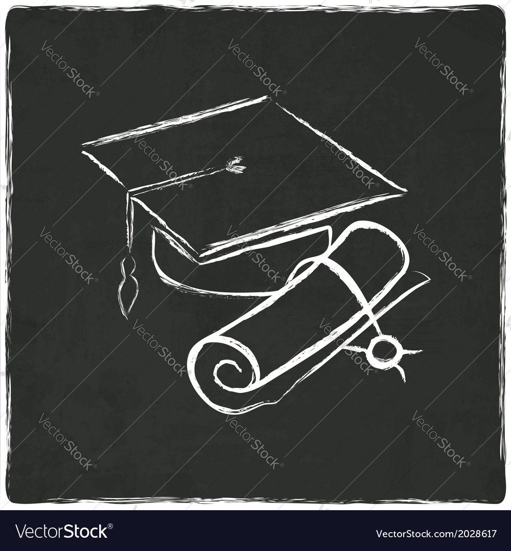 Graduation cap and diploma on old background vector