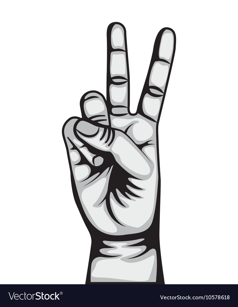 Hand peace and love symbol vector