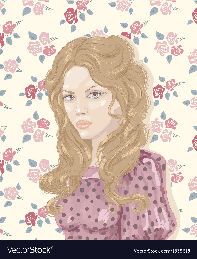 Retro woman portrait vector