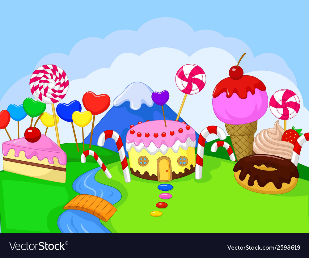 Cartoon fantasy sweet food land vector