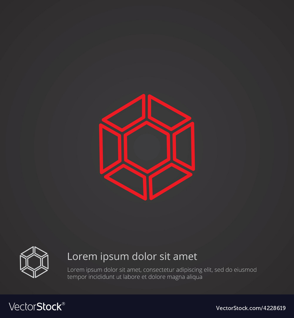 Diamond outline symbol red on dark background logo vector