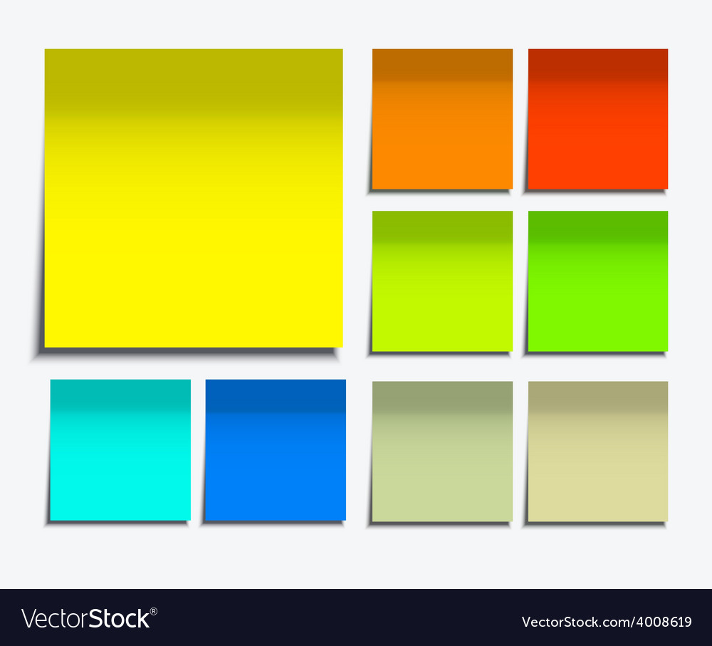 Modern square sticky note set on white vector