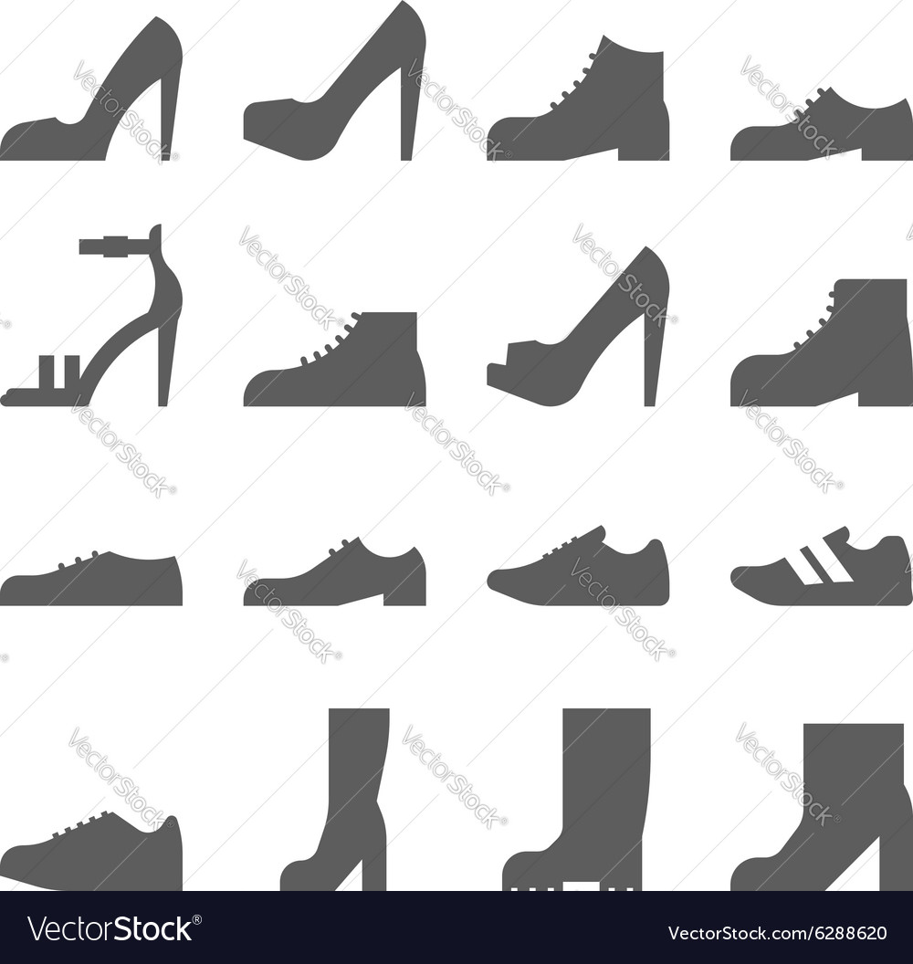 Footwear icon set collection of shoes vector