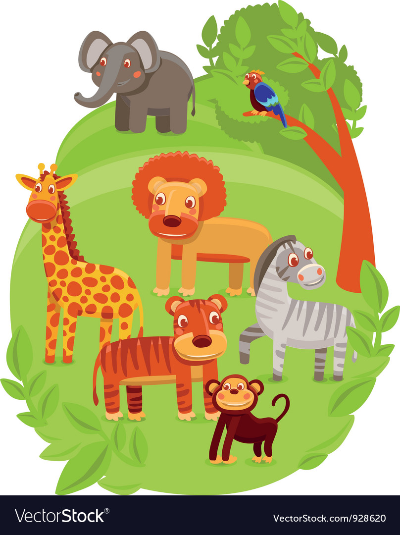 Funny cartoon animals in green jungle vector