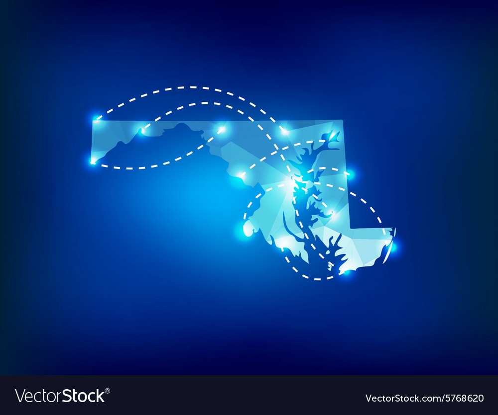 Maryland state map polygonal with spot lights vector