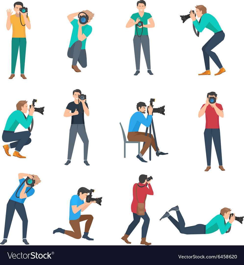 Photographer avatars set vector