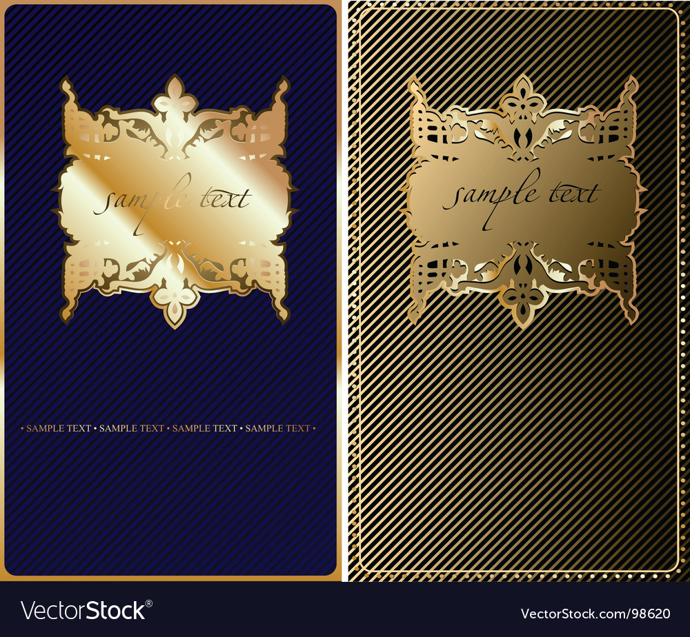 Retro gold blue cover background vector