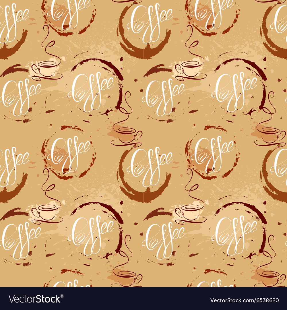Seamless pattern with coffee cups coffee stain cal vector