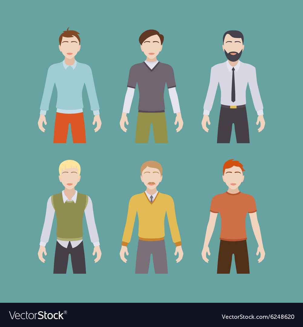 Six male characters vector