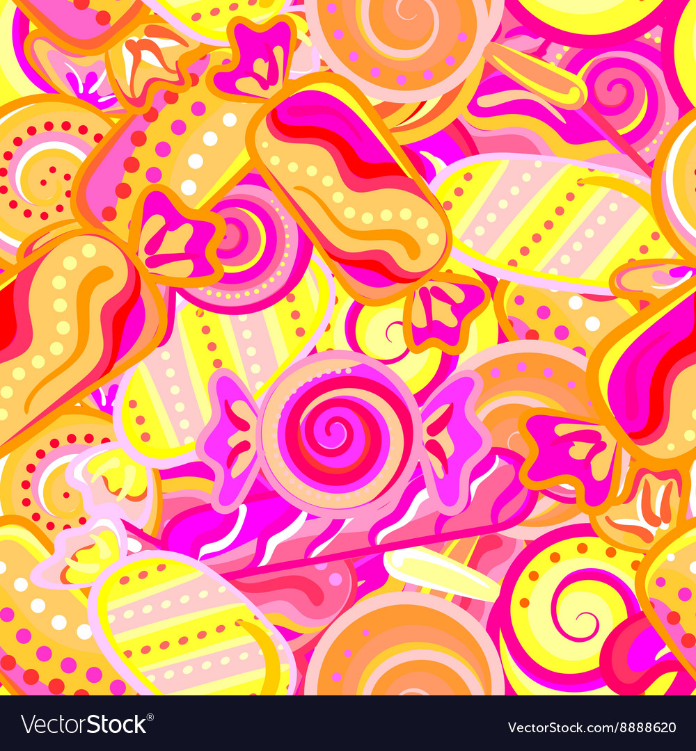 Yummy colorful sweet lollipop candy cane seamless vector