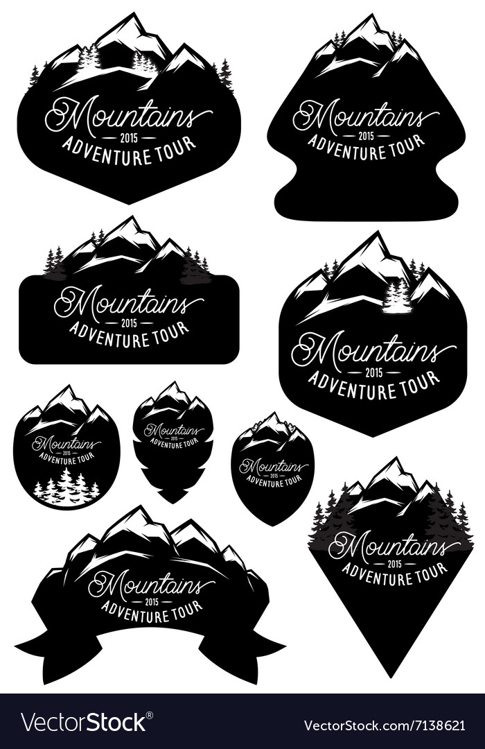 Set stylish retro badge templates with vector