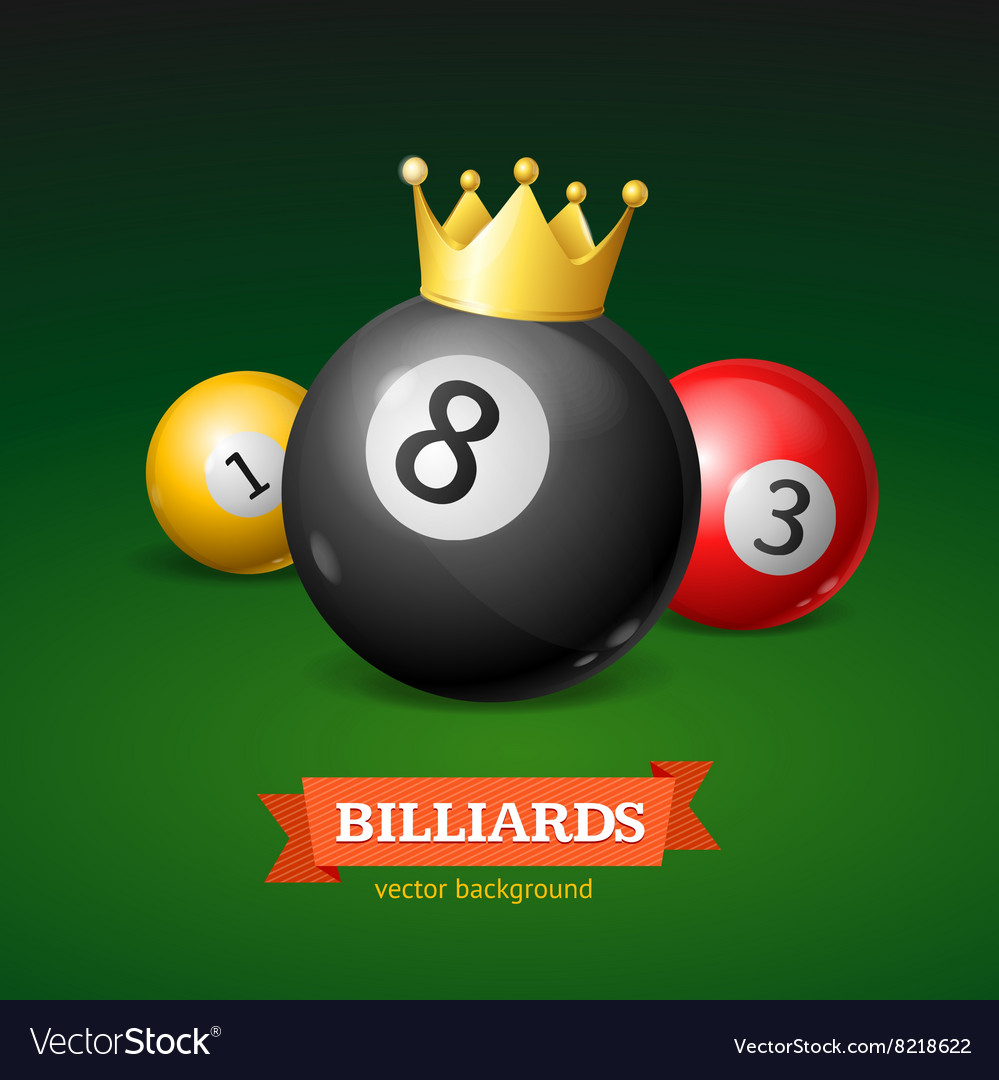 Billiard balls with golden crown vector