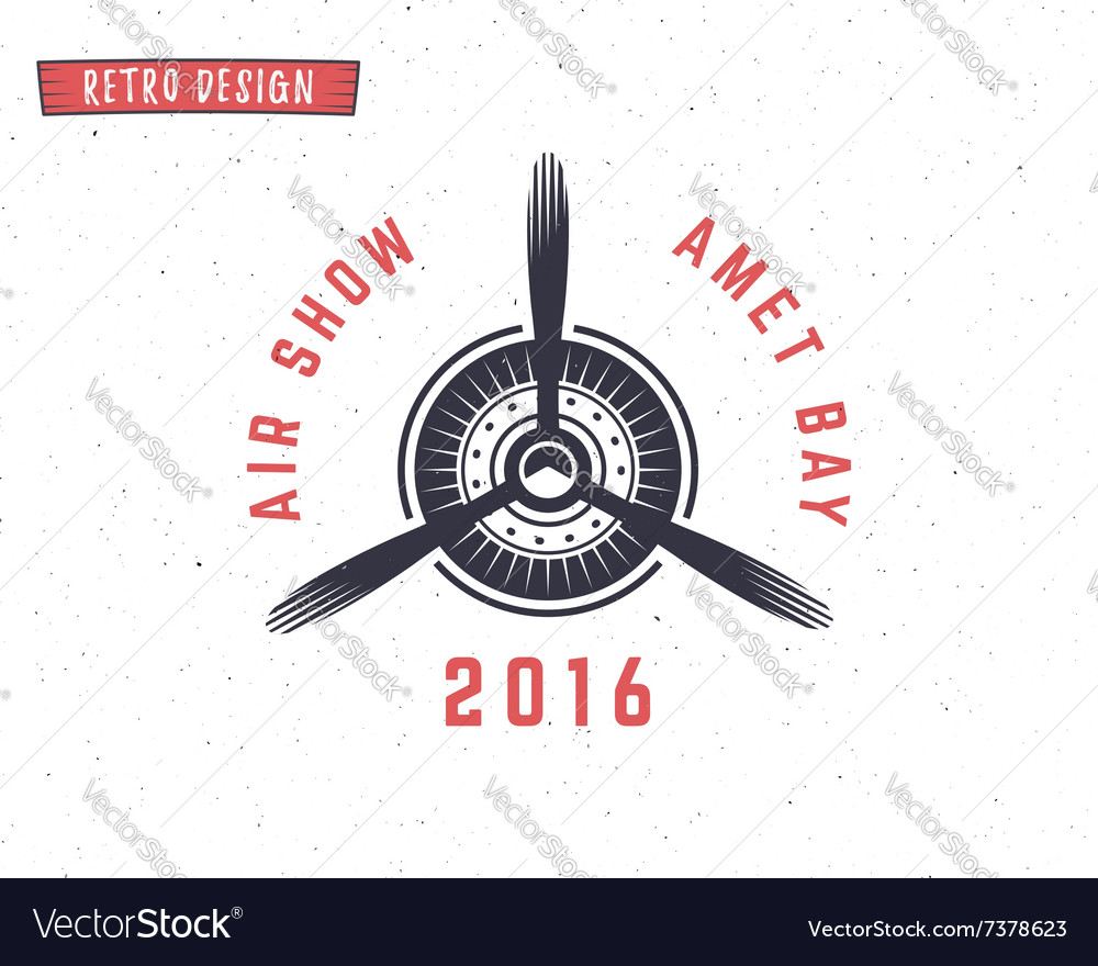 Airplane propeller emblem biplane label retro vector