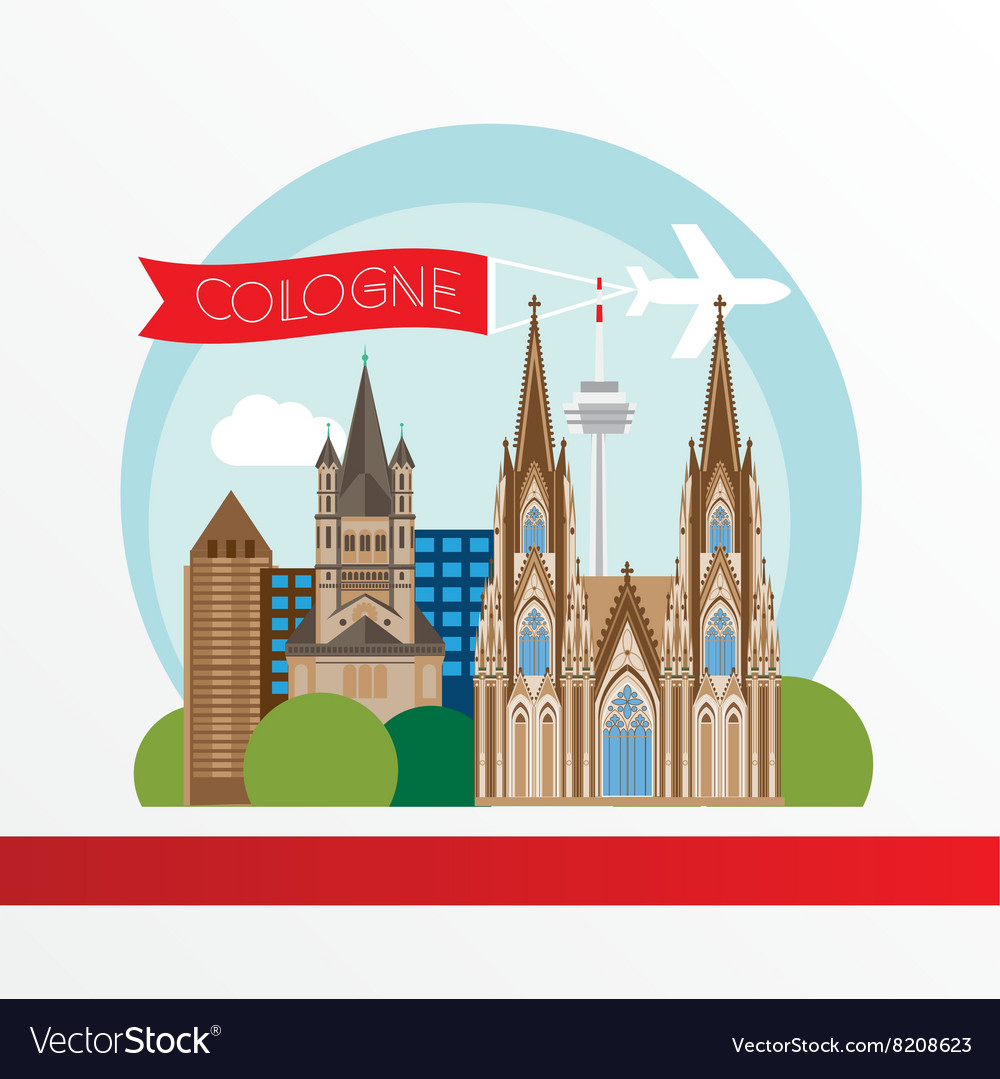 Cologne detailed silhouette trendy vector